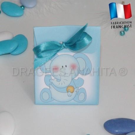Pochon pour dragées éléphant bleu