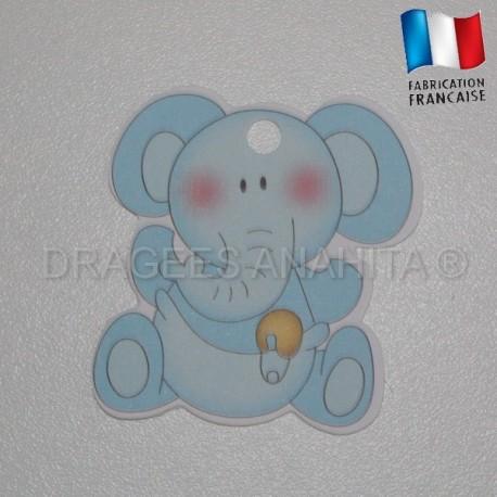 Etiquette éléphant bleu