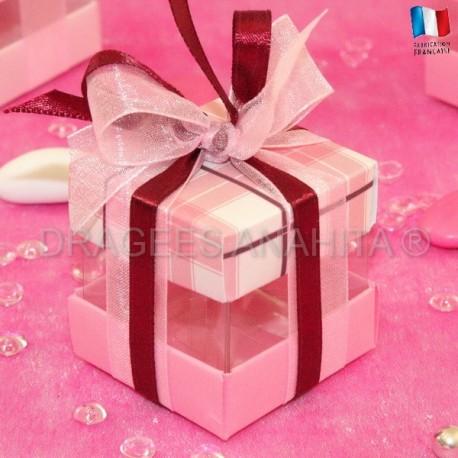 Cube à dragées écossais rose