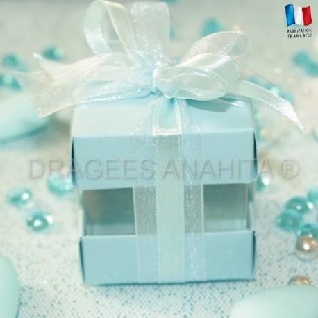 Cube à dragées bleu ciel
