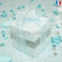 Cube à dragées bleu ciel nacré