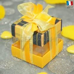 Cube à dragées écossais jaune