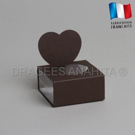 Boite à dragées coeur chocolat