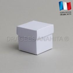 Cube uni à dragées blanc