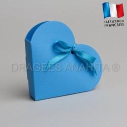 Contenant dragées coeur turquoise