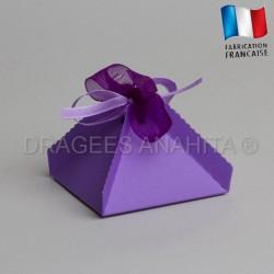 Boite a dragées pyramide lilas