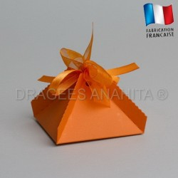 Boite a dragées pyramide orange
