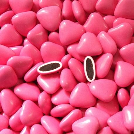 Dragées coeur chocolat fuchsia 1 Kg