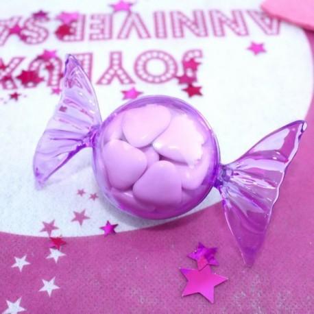 Contenant dragées bonbon transparent lilas