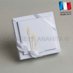 Grande boite à dragées communion blanc épi
