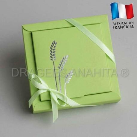 Grande boite à dragées communion verte épi
