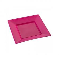Assiette jetable fuchsia petite carrée X 12