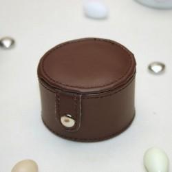 Boite ronde à dragées en cuir marron