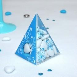 Pyramide à dragées Papillons turquoise
