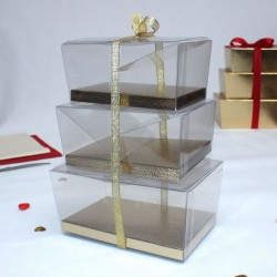 Boite à gâteau transparente fond Or