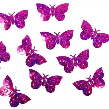Confettis de table papillon fuchsia