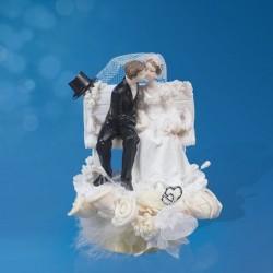 Figurine gâteau de mariage banc romantique