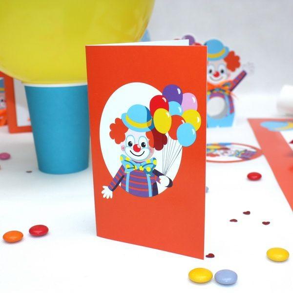 Carte D Invitation Clown Dragees Anahita