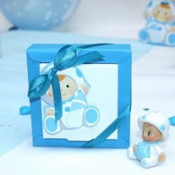 Grande boite à dragées carré bébé bleu