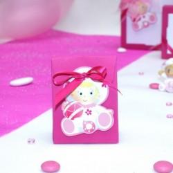 Pochon à dragées bébé rose