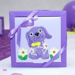 Grande boite à dragées carré petit chien