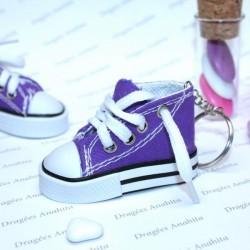 2 Baskets à dragées violettes avec porte clé