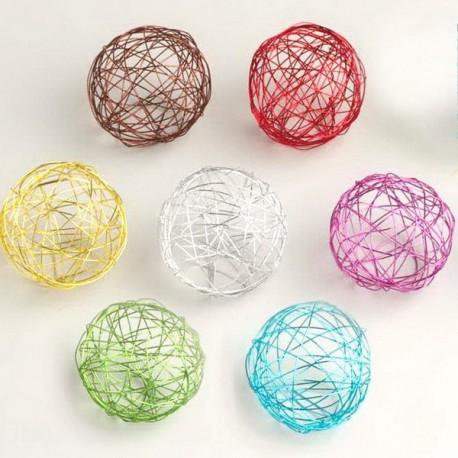 6 Boules métal de couleur 6 cm