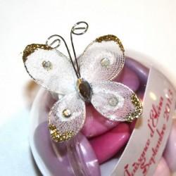4 papillons autocollants blanc