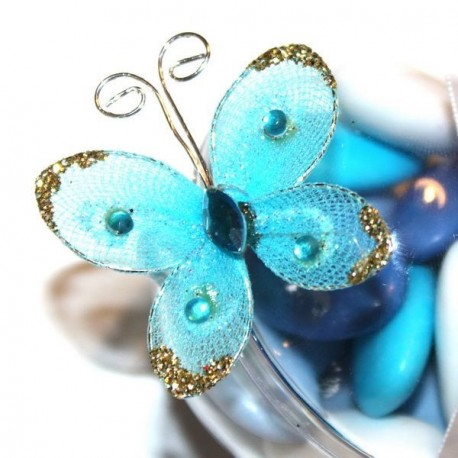 4 papillons turquoise autocollants