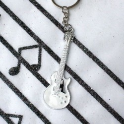 Porte clé guitare blanche