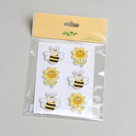 6 stickers Abeille et Fleur
