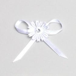 12 fleurs strass autocollantes blanches