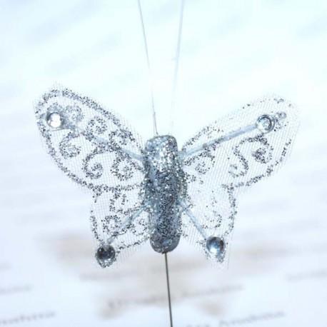 Papillon Argenté pailleté