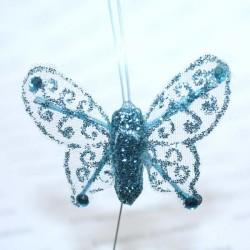 Papillon turquoise pailleté