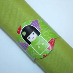 Rond de serviette Kokeshi vert