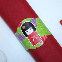 Rond de serviette Kokeshi rouge