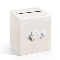 Urne blanc cassé fleur bleu