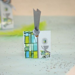 Etiquette communion vitrail vert