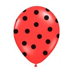 6 Ballons rouge pois noir 36 cm