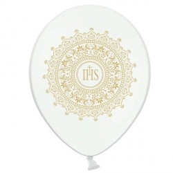 6 Ballons IHS Blanc et Or 30 cm