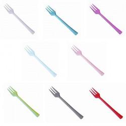 50 mini fourchettes couleur en plastique