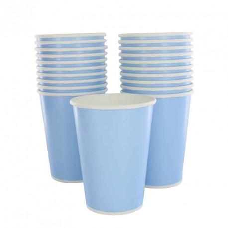 10 gobelets en cartons bleu ciel
