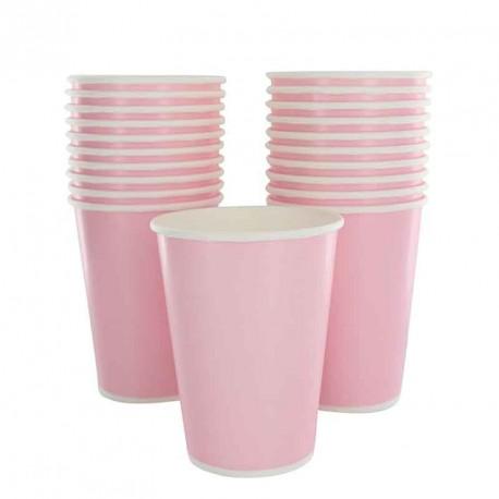10 gobelets en cartons rose