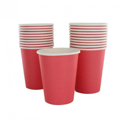 10 gobelets en cartons rouge