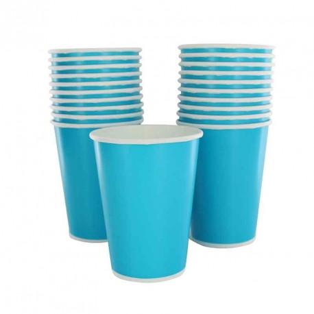 10 gobelets en cartons turquoise