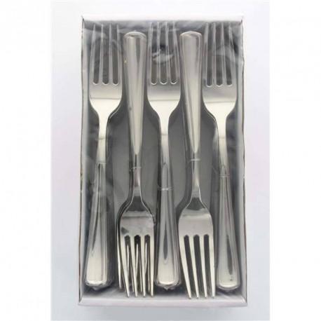 fourchette argentée en plastique jetable pas cher