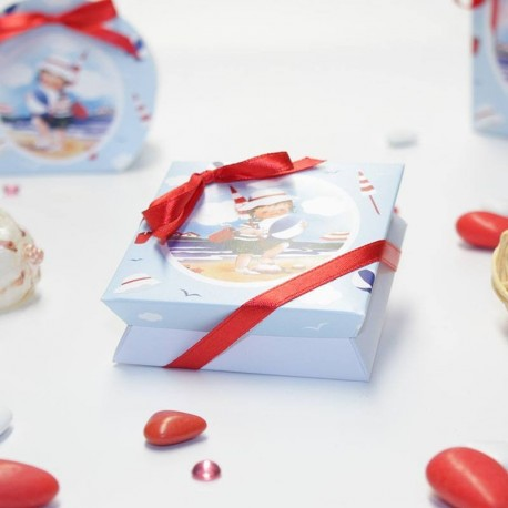 Boîte à dragées petit baigneur fille thème mer