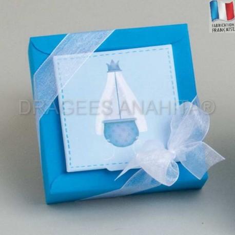 Coffret à dragées bapteme berceau bleu