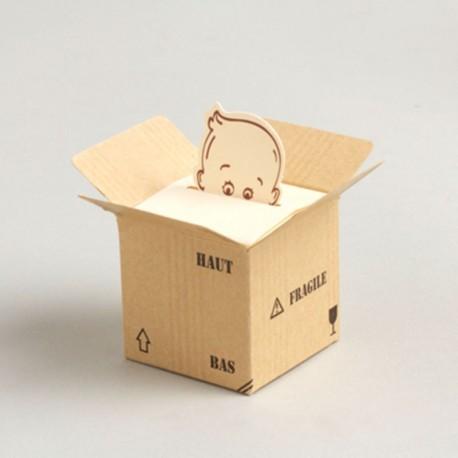 Cube à dragées bébé colis fragile pour naissance ou baptême