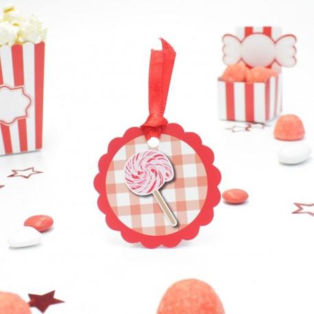 Etiquette sucette torsadé candy bar